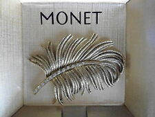 NEW  MONET BROOCH / PIN LOVELY TEXTURED GOLDTONE LEAF WITH RHINESTONES