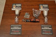 NOS Lot Of Jagermeister Shot Glasses, Coasters, Bottle Opener,Lanyard, & Holder