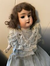 "Antique German Bisque Doll Blue Lace Dress Paper Mache Body No Eyes ""0� Stamped"