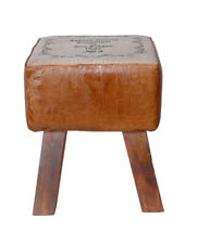 Indian Handmade Wooden and Leather Ottoman Stool for Home