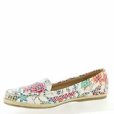 Beacon Womens Jessie Fabric Closed Toe Loafers, Floral-white, Size 6.0