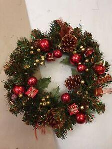 "Vintage Christmas Plastic Decorated Wreath 10"" Diameter"