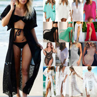 Damen Bikini Cover Up Vertuschung Strandkleid Sommer Minikleid Kimono Bademode