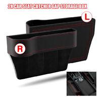 2Pcs Car Seat Gap Catcher Filler Storage Box Pocket Organizer Holder Leather