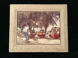 Original Jill Walker Oistins Barbados Tile Art. In Original Frane by Artist.