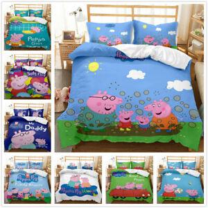 Peppa Pig 3D Bedding Set 2/3PCS Duvet Cover Pillowcase 4 Sizes UK2H.