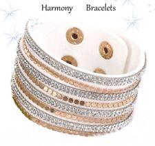 White Swarovski Elements Golden Cuff Bracelet by Harmony Bracelets