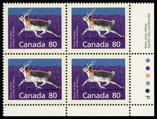 Canada  #1180c   VF NH 80¢ Peary Caribou, Perf 14.4 x 13.8. Imprint block of 4