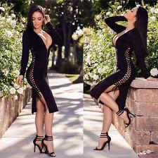 Abito aperto Nudo aderente Scollo Spacco Lacci Stringhe Ballo Lace up Dress XL