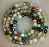 6mm faceted Watermelon Tourmaline Gems Round loose Bead 15'' AAA