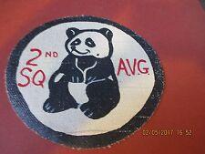 WWII AVG FLYING TIGERS PANDA BEARS 2 ND SQUADRON CBI WHT /BK BORDER FLIGHT PATCH