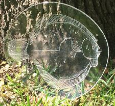 "VTG Antique ART GLASS FISH PLATE Platter Clear European Salmon Serving 13"" NICE!"