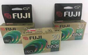 Fuji Film VHS-C Pro Premium High Grade Camcorder TC-30 VHS Video Cassette Qty 3