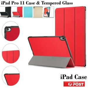 """For Apple iPad Pro 11"""" Inch 3 Folds Magnetic Cover Protector Tempered Glass AU"""