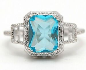 2CT Aquamarine & Topaz 925 Solid Sterling Silver Ring Jewelry Sz 7