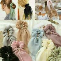 Women's Ponytail Scarf Bow Hair Ropes Ties Scrunchies Ribbon Hair Bands Elastic