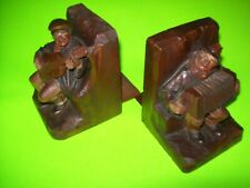 Anri Vintage Hand Carved Bookends With 1920s Labels Musicians Guitar Accordion