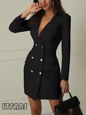 Women Short Bodycon Lapel Blazer Double Breasted Long Sleeve V-neck Work Dress
