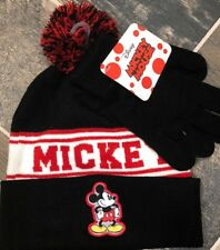 88d91db96d2 Disney Mickey Mouse Kids Youth Pom Beanie Winter Hat And Glove Set Black New