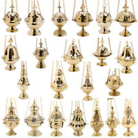 Handmade hanging thurible censer brass incense burner church home charcoal gold