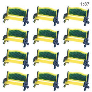 12pcs Model Train HO Scale 1:87 Platform Park Street Yellow Seat Bench Chair