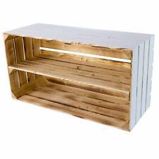 2x Breite Obstkiste in weiß mit geflammten Innenraum / ideal als Schuhregal