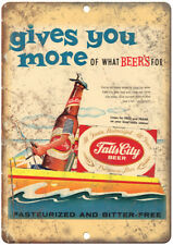 "Falls City Beer Vintage Print Ad Breweriana 12"" x 9"" Retro Look Metal Sign E10"