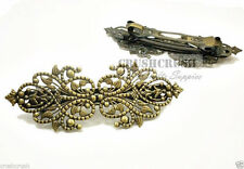 2 pieces Antique Brass Filigree Floral French Hair Barrette Clips Jewelry C170