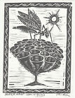 """Vintage Lino Print, Paper Wasp by Peter Robinson-Smith, Signed, 7"""" x 9"""""""