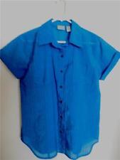 Chico's S/S Button Shirt/Top~Size 1-Teal~Burnout stripe~NWOT