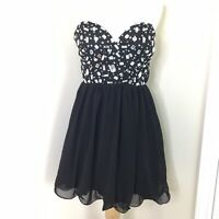 Deb Women's Black Strapless Rhinestone Fit and Flare Formal Party Dress Sz 9/10
