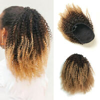 100% Human Hair Afro Kinky Curly Ponytail Ombre Clip in Afro Puff Drawstring Bun