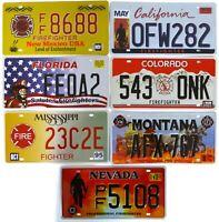 Lot de 7 plaques d'immatriculation américaines POMPIERS USA FIREFIGHTERS