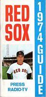 1974 Boston Red Sox Baseball Media Guide Carl Yastrzemski,Carlton Fisk, Jim Rice