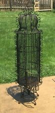 "Stunning antique Victorian Wrought Iron Bird Cage Ornate 64"" tall 15"" diameter"