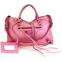 Authentic BALENCIAGA The City 2Way Shoulder Hand Bag Leather Pink Mirror 86V2344