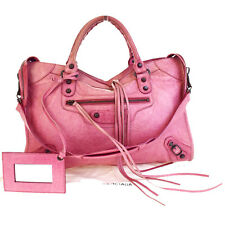 6ed54b445d1 Authentic BALENCIAGA The City 2Way Shoulder Hand Bag Leather Pink Mirror  86V2344