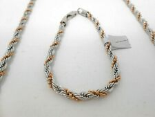 "Necklace Chain Bracelet Twist Rope Curb Link Stainless Steel 28 "" Gold Silver"