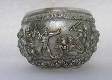 Quality Late 19thC Burmese Silver Mythological Figures, Tiger Man, Warriors Bowl