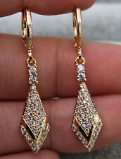 18K Yellow Gold Filled - 1.5'' Rhombus Arrow Topaz Zircon Hoop Women Earrings