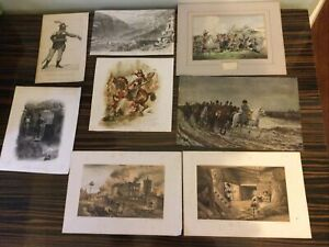 Job lot ANTIQUE PRINTS Military Theme Art Historic