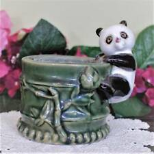 Panda on Bamboo Vase Flower Planter Pencil Cup B-614 Vintage