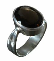 Handmade 925 Solid Sterling Silver Ring Natural Smoky Topaz US Size 8 JSR-446