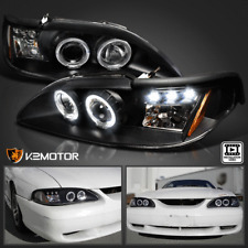 1994-1998 Ford Mustang LED+Halo Projector Headlights [Black]