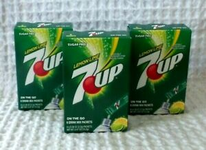 7UP SUGAR FREE On The Go SINGLES  Lot of 3 Boxes 18 Packets Exp Date 2023