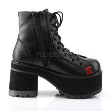 Ranger-108 Combat Biker Punk Widow Spider Detail Upper Lace Up Ankle Boot