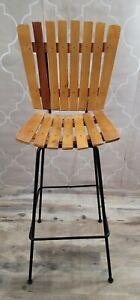 Vintage Arthur Umanoff Style Wood Slat Barstool