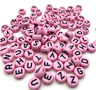 💗200 Pink Acrylic Beads Round Random Alphabet/ Letter 7mm hole approx 1.7mm💗