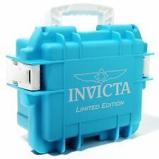 New Invicta 3 Slot Impact Hard Aqua Blue Limited Ed Dive Storage Collector Case