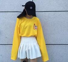 Harajuku T Shirt Female Loose Long Sleeve Cartoon Yellow Tops Tee Funny Lady